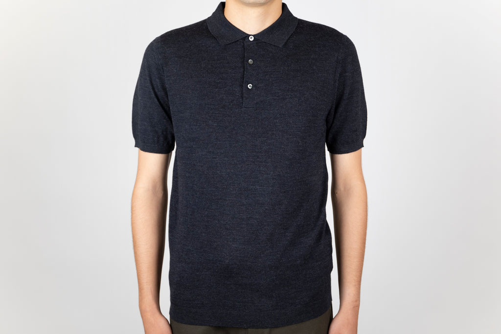 Merino Wool Melange Polo - Stitch Note