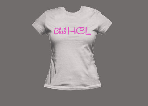 Club HCL Womens White/Pink Tee