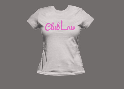 Club Law Womens White/Pink Tee