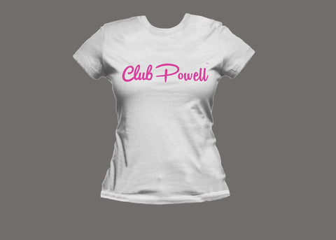 Club Powell Womens White/Pink Tee