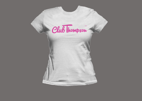 Club Thompson Womens White/Pink Tee