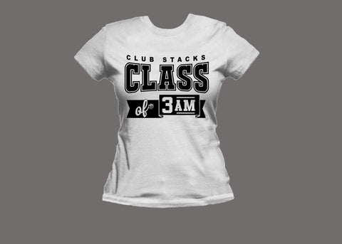 Club Stacks Class of 3 AM Women's White Tee