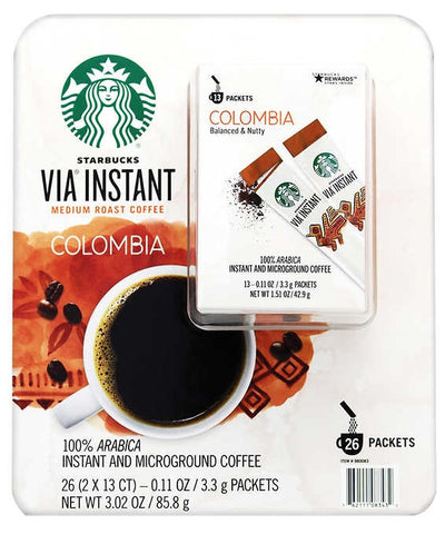 Starbucks VIA Instant Colombia Coffee, Medium Roast, 13-count, 2-pack