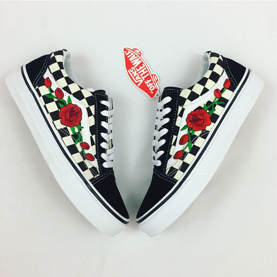 Vans n Roses Checkerboard Black & White