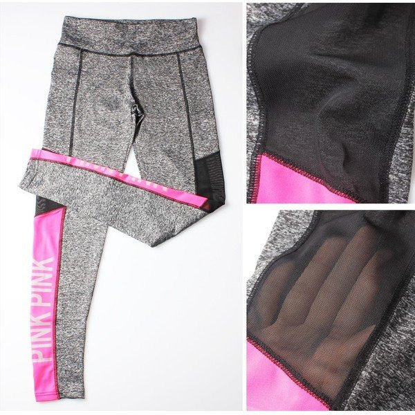 pink mesh panel leggings
