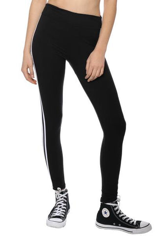 black leggings with white side stripe