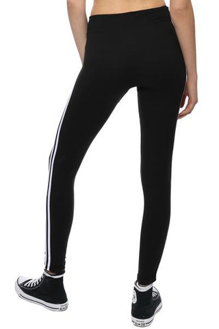 trendy athletic stripes down the sides leggings