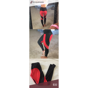 ACTIVEWEAR HEART SHAPED LEGGINGS - Red-prettyfitbox.com