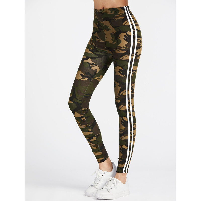 Camo High Waisted Varsity Striped Leggings - prettyftibox.com