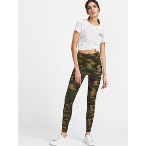 ACTIVEWEAR HIGH WAISTED VARSITY STRIPED LEGGINGS - CAMO-prettyfitbox.com
