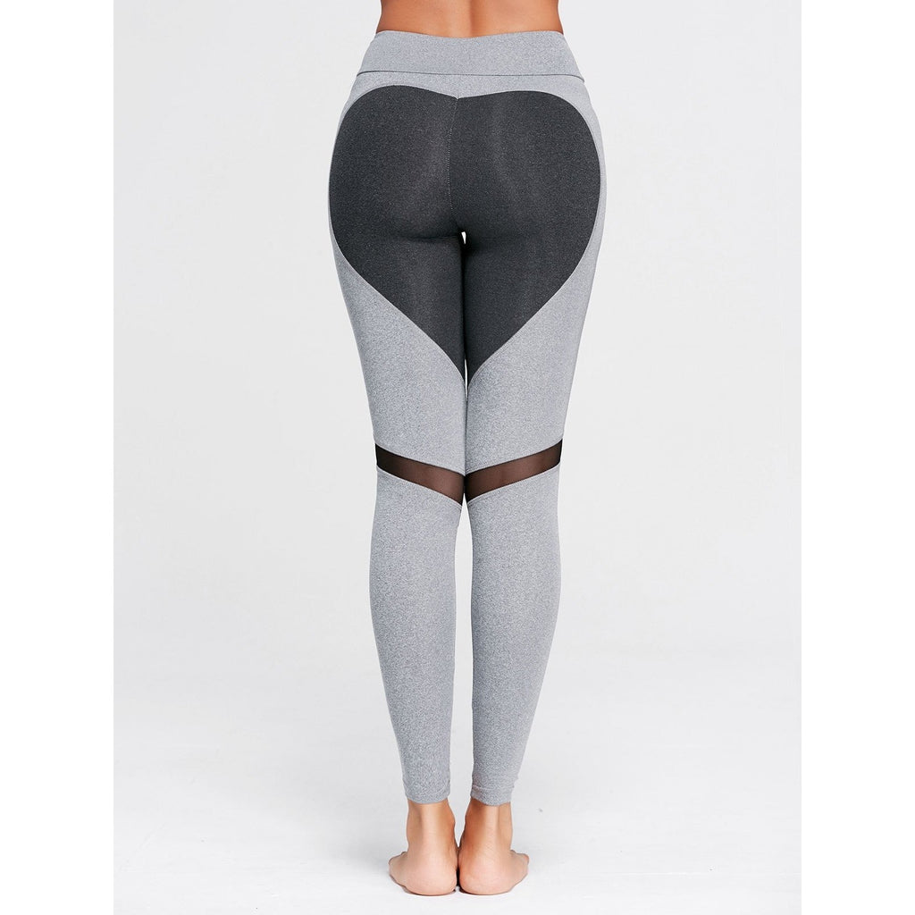 ACTIVEWEAR HEART SHAPED LEGGINGS - Light Grey-prettyfitbox.com