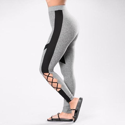 criss cross yoga leggings - GREY