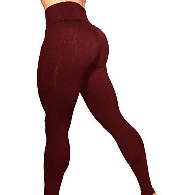 ACTIVEWEAR PRETTY FIT PREMIUM LEGGINGS - Maroon-prettyfitbox.com