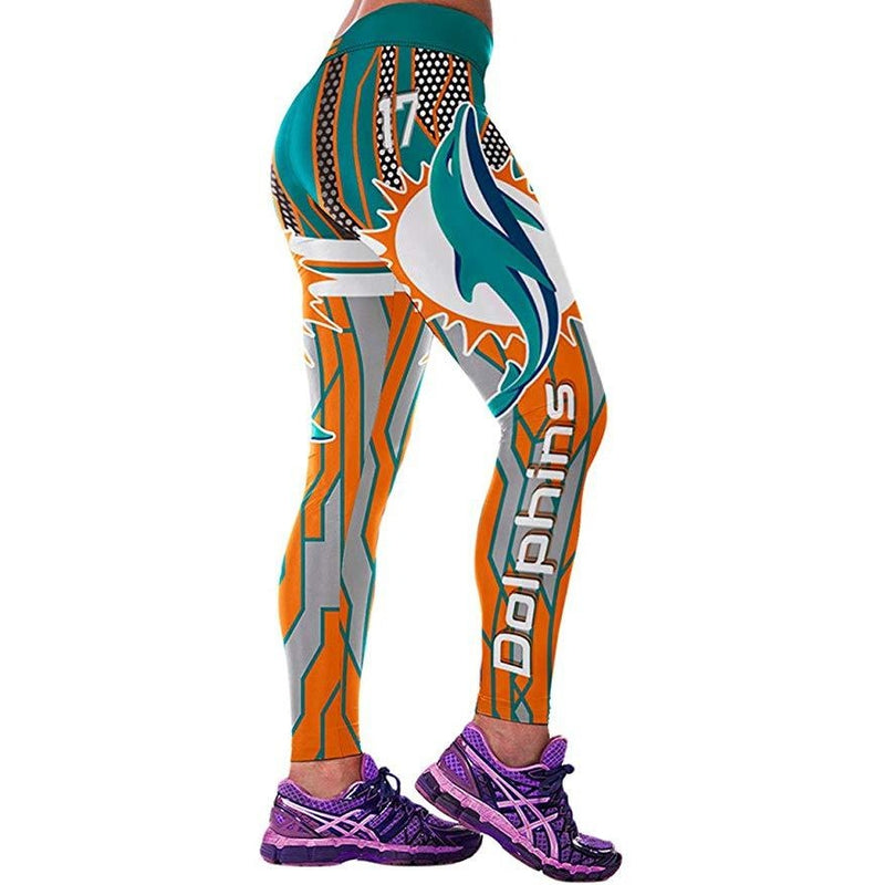 ACTIVEWEAR NFL PRINT LEGGINGS - Miami Dolphins-prettyfitbox.com