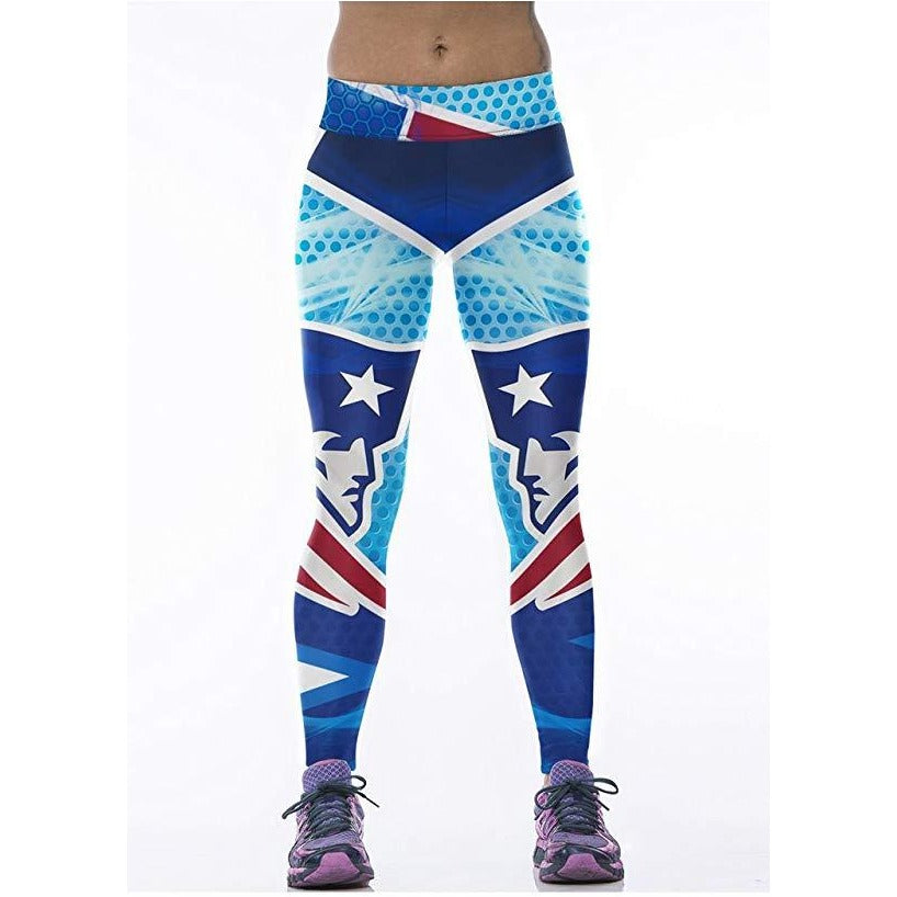 ACTIVEWEAR NFL PRINT LEGGINGS - New England Patriots Leggings-prettyfitbox.com