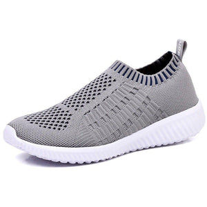 Athletic Flyknit Breathable Running Shoes - Grey-prettyfitbox.com