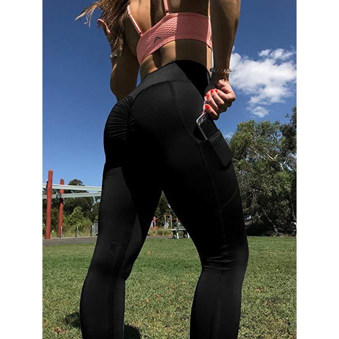 ACTIVEWEAR SCRUNCH BUTT LEGGINGS - Side Pocket-prettyfitbox.com