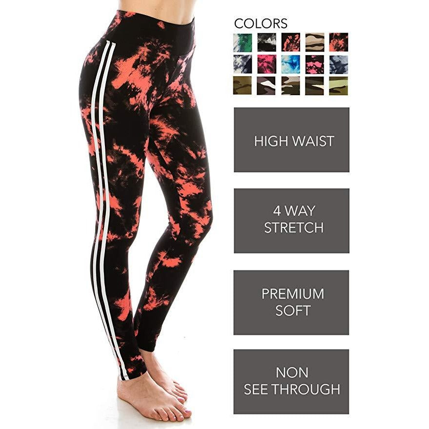 Yoga High Waisted Varsity Striped Leggings -  Prettyfitbox