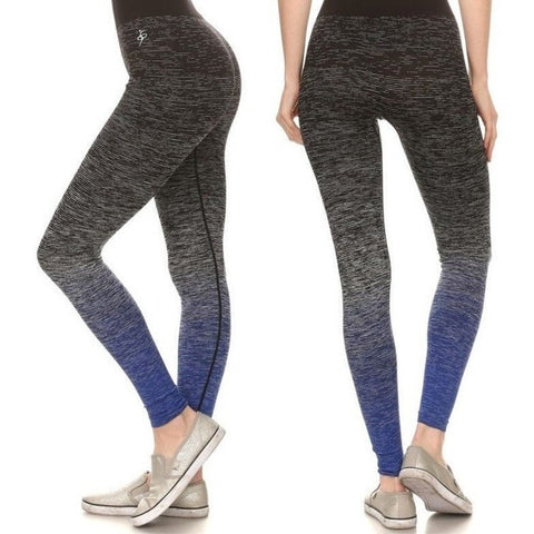 ACTIVEWEAR OMBRE SPACE DYE LEGGINGS   BLACK BLUE   prettyfitbox.com