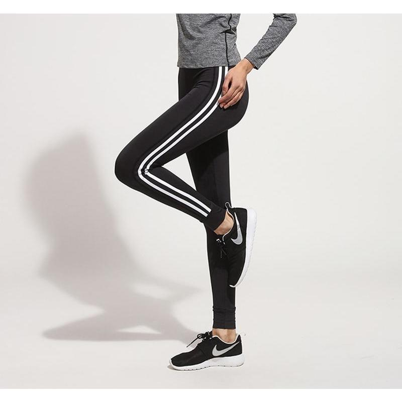 Leggings with side stripes - Black - Ladies