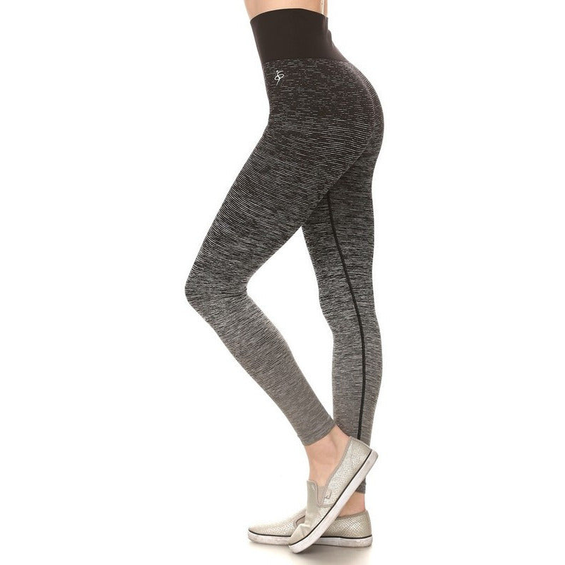 ACTIVEWEAR OMBRE SPACE DYE LEGGINGS   BLACK GREY   prettyfitbox.com