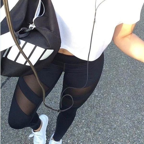 Workout Leggings With Mesh Cutouts