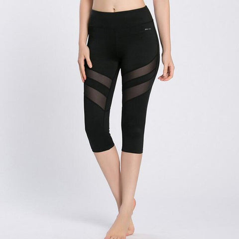 ACTIVEWEAR CAPRI MESH PANEL LEGGINGS-prettyfitbox.com