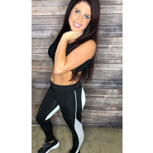 ACTIVEWEAR HEART SHAPED LEGGINGS Black/White  – Flash Sale – UP TO 20% OFF! - prettyfitbox - cheap activewear