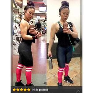 ACTIVEWEAR HIGH SOCK LEGGINGS - Black Red-prettyfitbox.com