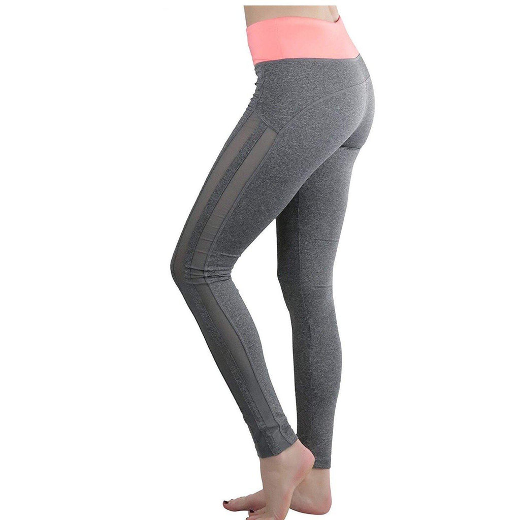 Two Tone Mesh Panel Active Leggings