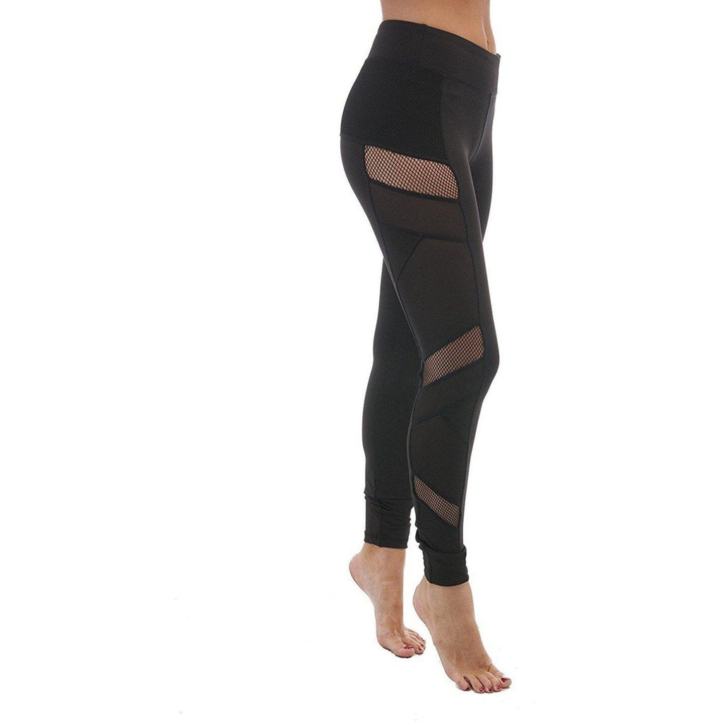ACTIVEWEAR MESH PANEL LEGGINGS - Black-prettyfitbox.com