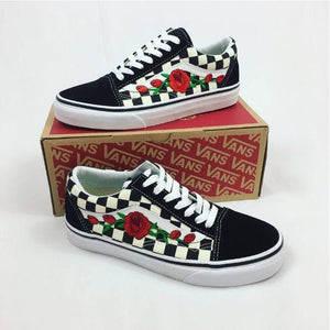 checkered vans with roses