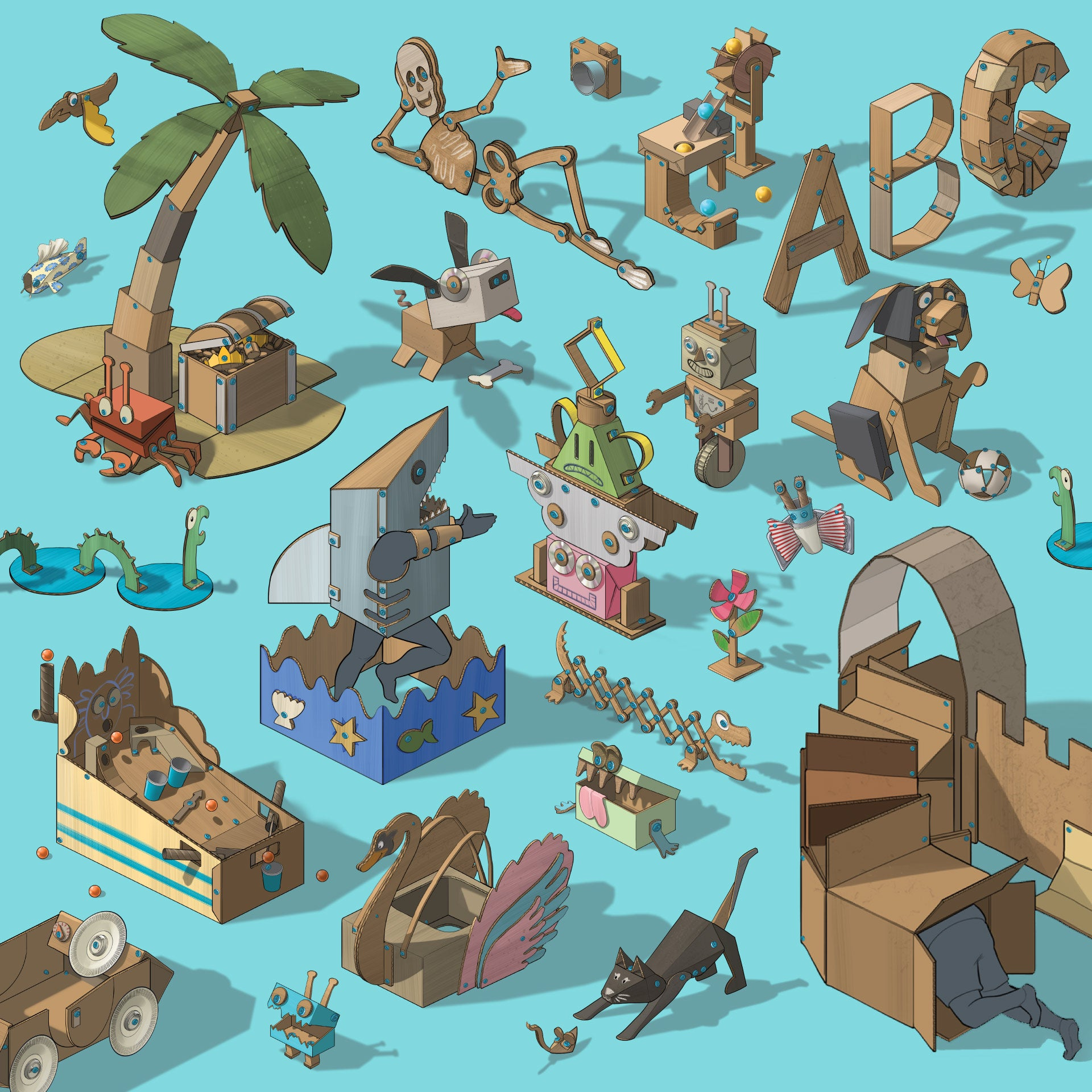 Illustrated world of Makedo cardboard creations - EXPLORE Kit.