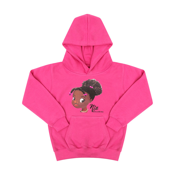 Pink children's hoodie with image of Nia Ballerina face who is a black ballerina.