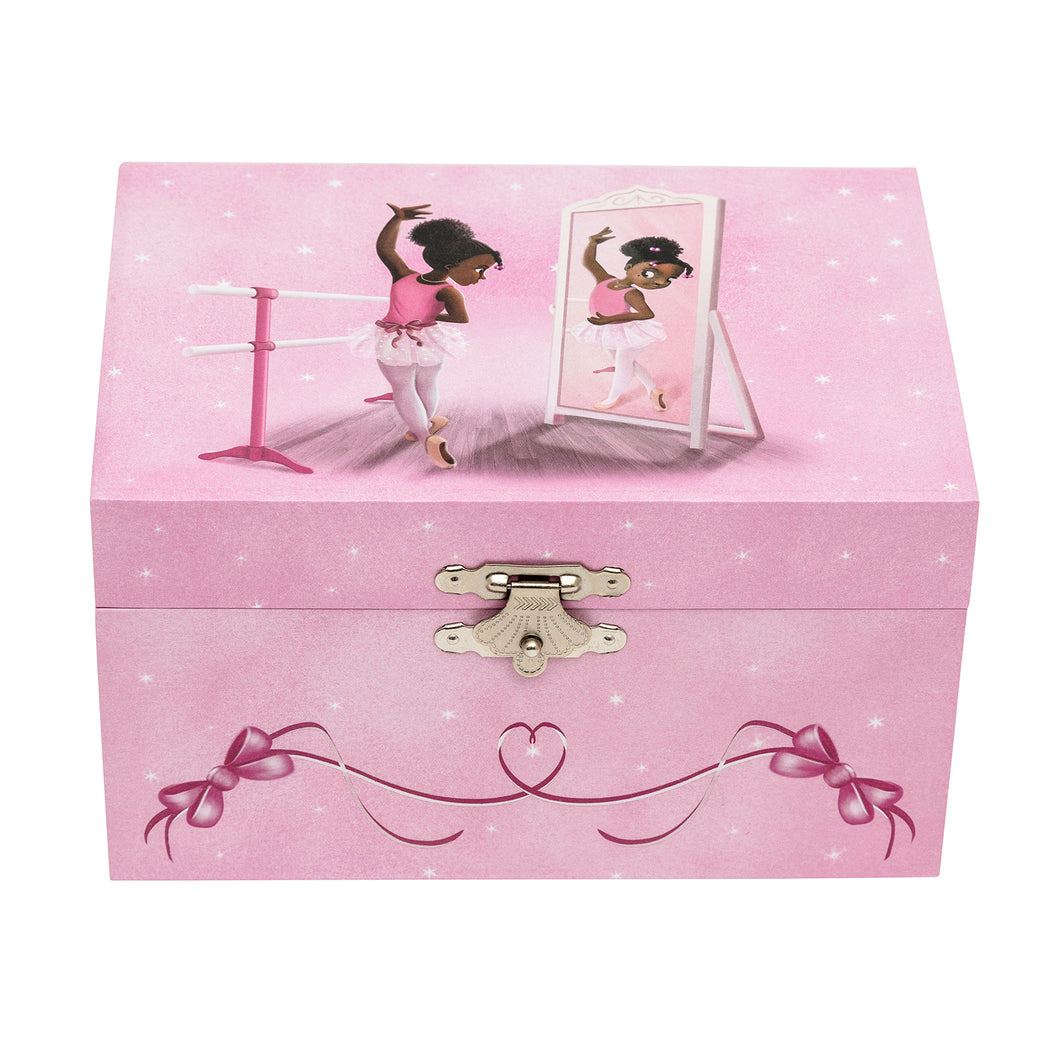 Pink jewellery box with a image of a black ballerina dancing in the mirror.
