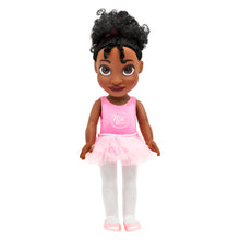 Nia Ballerina Black Ballerina Doll with pink ballet outfit complete with pink tutu and ballet shoes, and white tights.