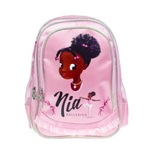 Pink dance bag with a image of a black ballerina face. Bag has a trim just like a tutu.