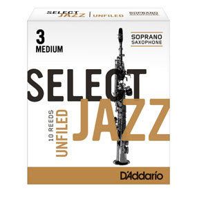 D'Addario Select Jazz Soprano Sax Reeds Unfiled