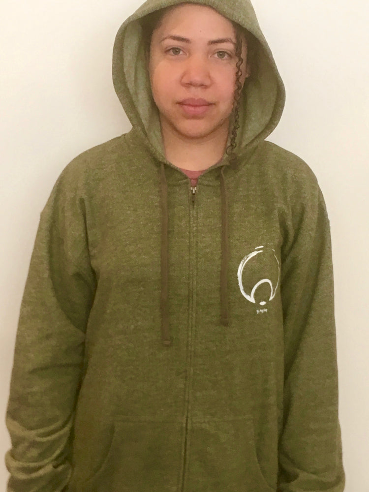 GREEN DENIM LOGO  ZIP UP HOODIE