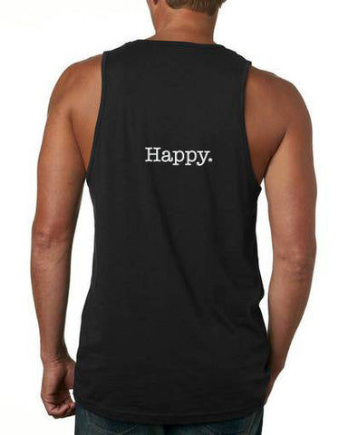 THE HAPPY ON THE BACK BLACK  AND WHITE TANK