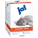 Shop Ja! Cat Food Wet Gourmet Menu Various Meats In Sauce 14 x 100g at great prices on discandooo.com