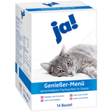 Shop Ja! Cat Food Wet Gourmet Menu Different Types Of Fish In Sauce 14 x 100g at great prices on discandooo.com