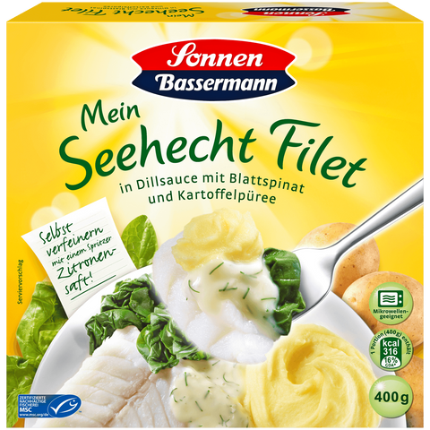 Shop 2x Sonnen Bassermann Hake Filet In Dill Sauce With Mashed Potatoes & Spinach 400g at great prices on discandooo.com