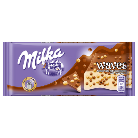 Shop 5x Milka Chocolate Waves Crunchy Cookie Bits 100g at great prices on discandooo.com