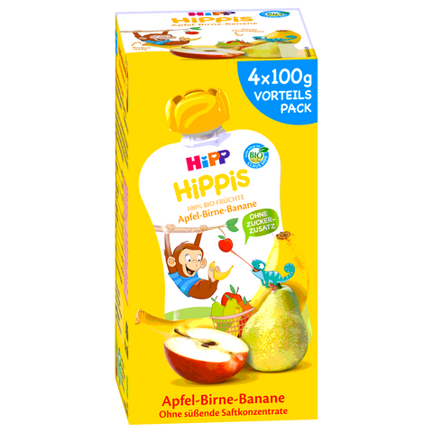 Shop Hipp Hippis Smoothies Apple-Pear-Banana 4 x 100g at great prices on discandooo.com
