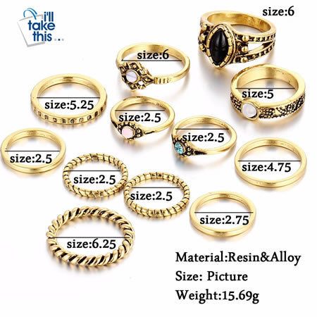 Antique Gold /Silver Bohemian Midi Ring Set Vintage SIZE Guide