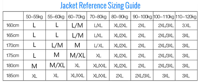 Fishing Jacket Sizing Guide