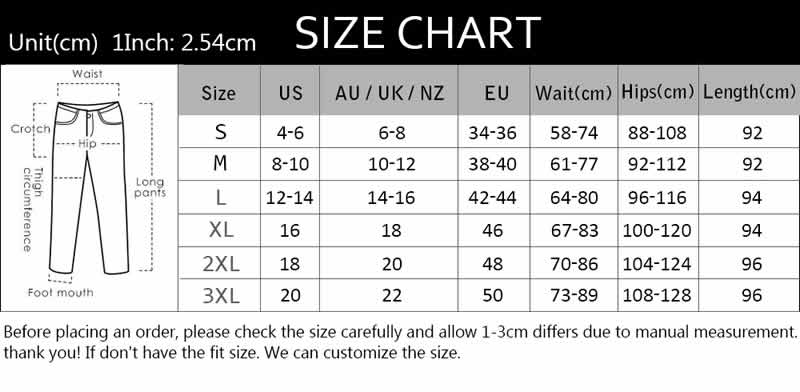 Women's Cellulite Buster Leggings Sizing Guide