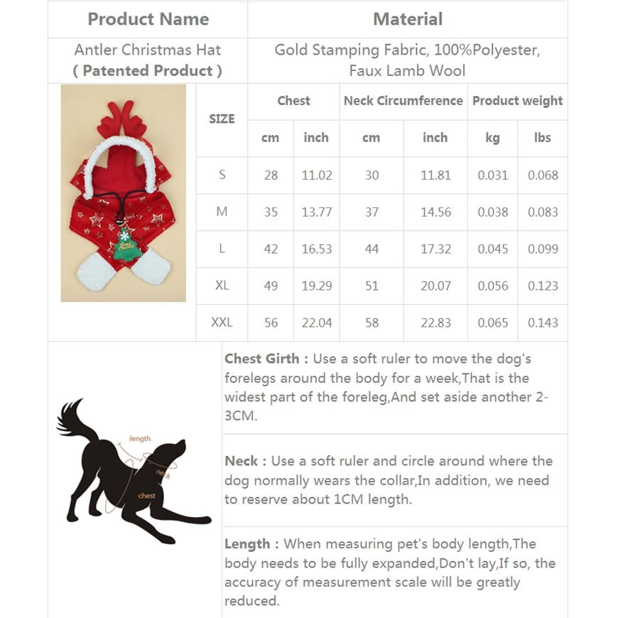Dog, Cat Sizing Costume Chart