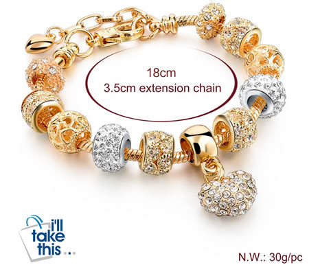 luxury crystal heart charm gold bracelets for women fashionable jewelry